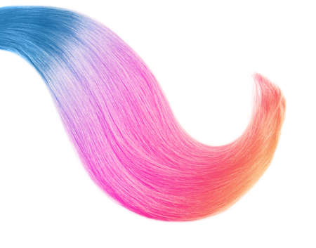 Colorful dyed hair on white background, top view. Trendy hairstyle