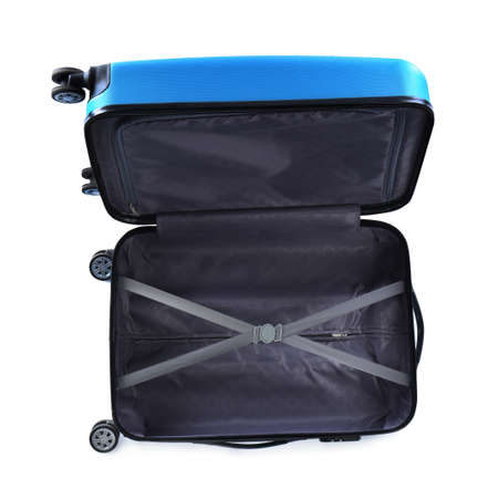 Open suitcase for travelling on white background, top view
