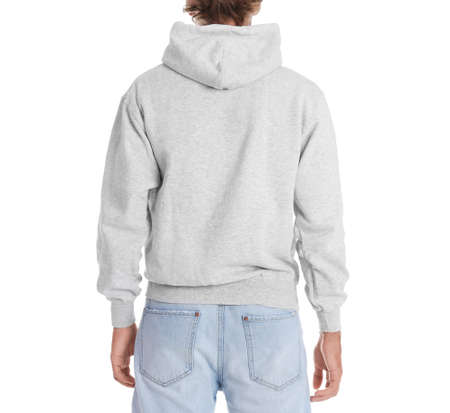 Man in hoodie sweater on white background. Space for design