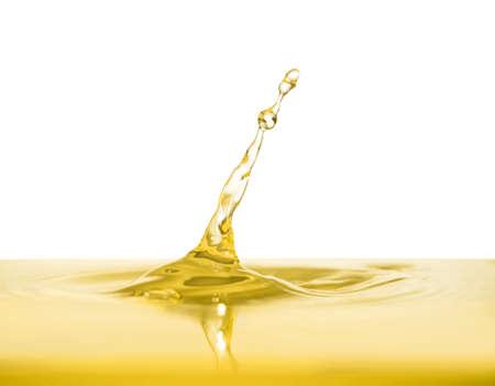 Oil splash on white background. Color liquid