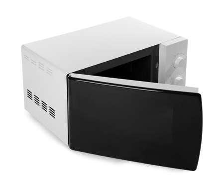 Open modern microwave oven on white background. Kitchen appliance Reklamní fotografie