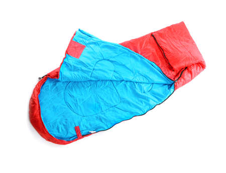 Sleeping bag on white background, top view. Camping equipment