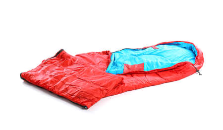 Sleeping bag on white background. Camping equipment 免版税图像