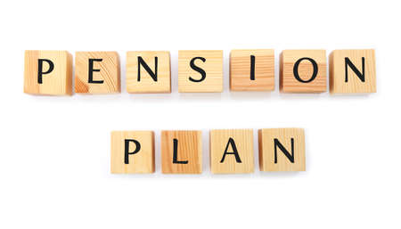 Wooden cubes with text PENSION PLAN on white background Stock fotó