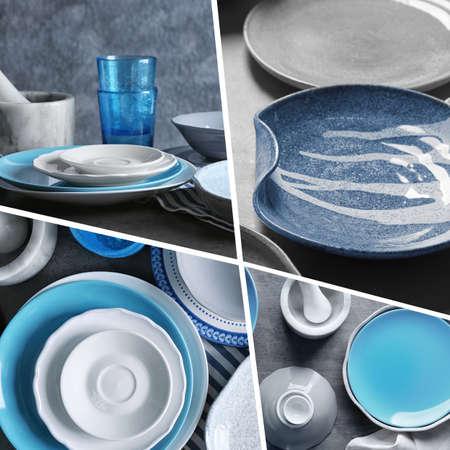 Set with beautiful ceramic dishware