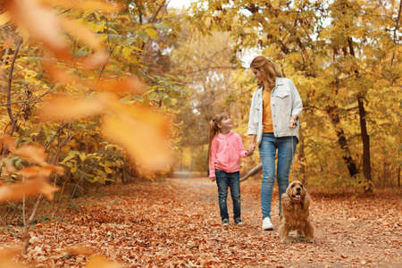 Mother with her cute daughter and dog in park. Autumn walk