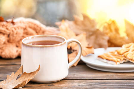 Cup of hot cozy drink and autumn leaf on windowsill. Space for text Stock Photo