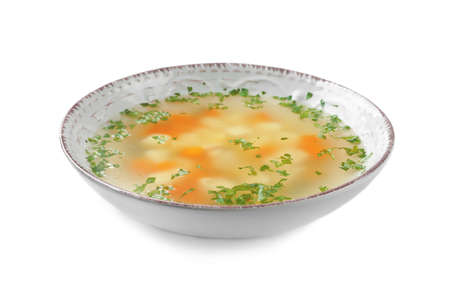 Bowl of fresh homemade soup to cure flu on white background