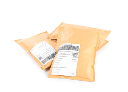 Padded envelopes on white background. Parcel delivery