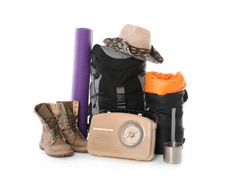 Set of camping equipment with sleeping bag on white background Stockfoto