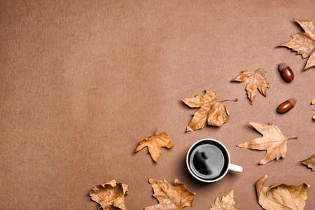 Flat lay composition with hot cozy drink and autumn leaves on color background. Space for text Stock Photo