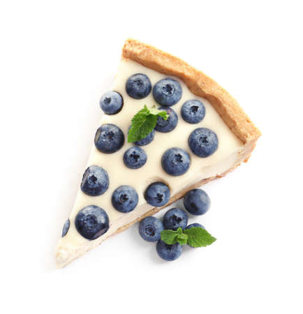 Piece of tasty blueberry cake on white background, top view