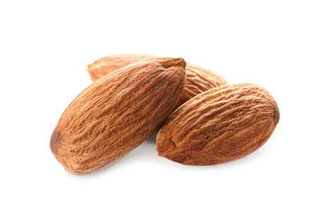 Organic almond nuts on white background. Healthy snack