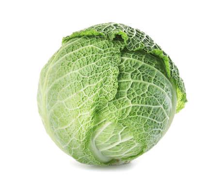 Cavolo verza verde fresco su fondo bianco