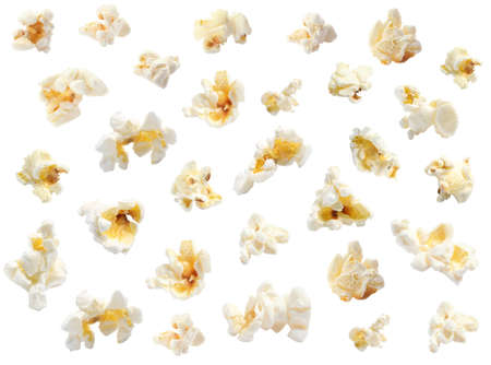 Set with tasty popcorn on white background Banco de Imagens