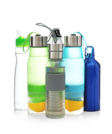 Different water bottles for sports on white background