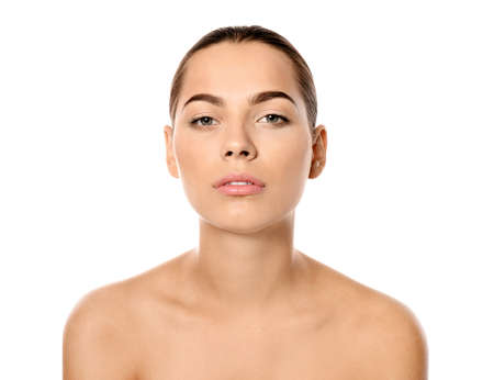 Portrait of beautiful young woman on white background. Lips contouring, skin care and cosmetic surgery concept