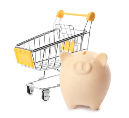 Piggy bank with shopping cart isolated on white background 免版税图像