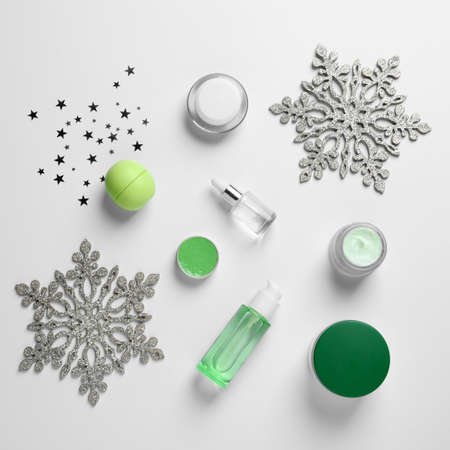 Set of cosmetic products on white background, flat lay. Winter care Stock Photo