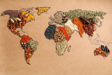 Paper with world map made of different aromatic spices as background, top view Standard-Bild - 111408377
