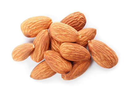 Organic almond nuts on white background, top view. Healthy snack Stockfoto