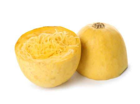 Cooked cut spaghetti squash on white background Stockfoto