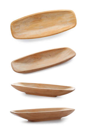Set with bamboo dish on white background