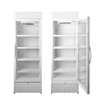 Set with empty commercial refrigerator on white background