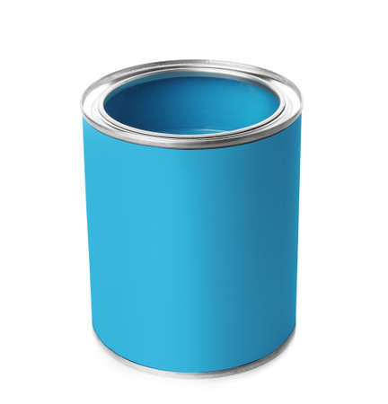 Blue paint can on white background. Space for design