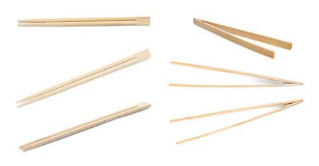 Set mit Bambusstäbchen auf weißem Hintergrund Standard-Bild