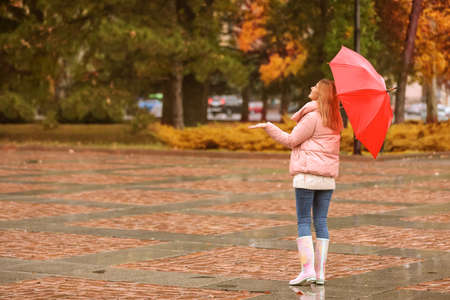 Woman with umbrella in autumn park on rainy day 版權商用圖片