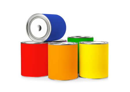 Set of different paint cans on white background. Space for design