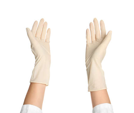 Doctor in medical gloves on white background Imagens
