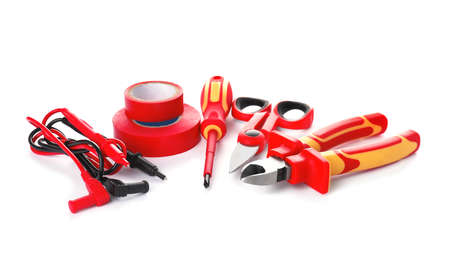 Set of electrician's tools on white background