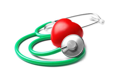 Stethoscope for checking pulse and red heart on white background