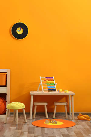Stylish children's room interior with toys and new furniture 版權商用圖片