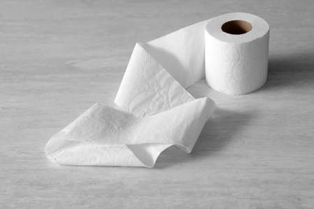 Soft toilet paper roll on light background