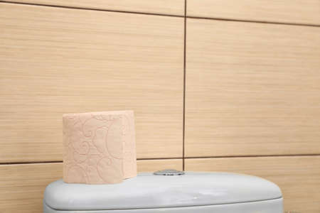 Soft toilet paper roll on flush tank in bathroom. Space for text Standard-Bild