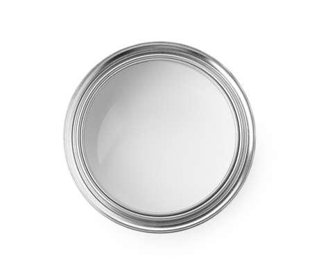 Boîte de peinture ouverte sur fond blanc, vue de dessus