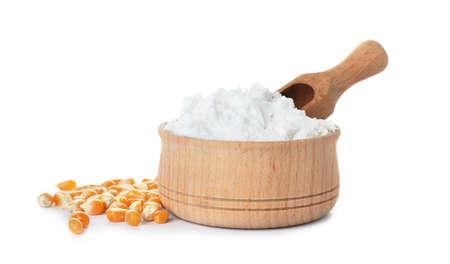 Bol avec de la fécule de maïs et scoop sur fond blanc