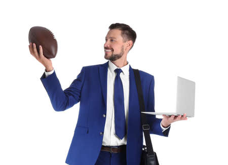 Portrait of businessman with briefcase, ball and laptop on white background. Combining life and work