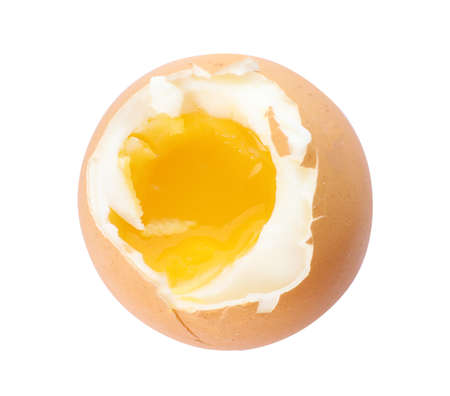 Soft boiled egg on white background, top view Banque d'images