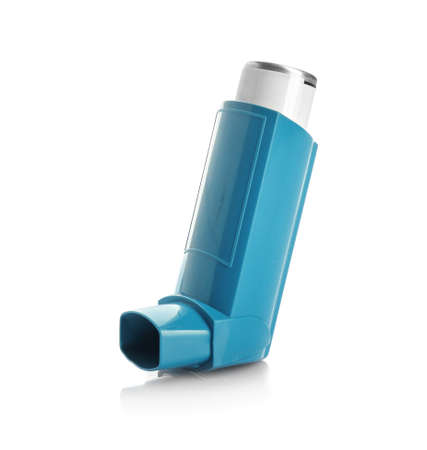 Portable asthma inhaler device on white background Stock Photo