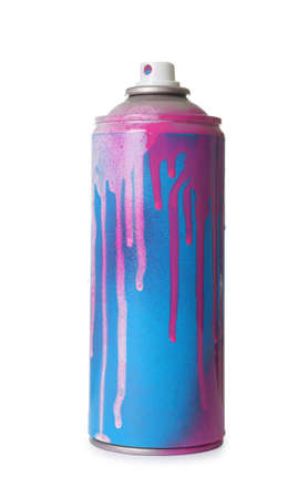Used can of spray paint on white background Stock Photo