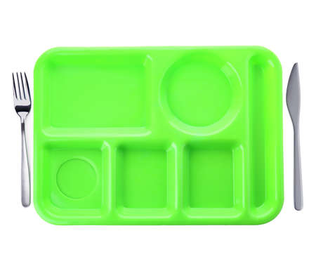 Empty plastic tray on white background, top view. School lunch Stock Photo