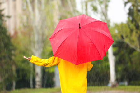 Woman with red umbrella in park on rainy day Imagens