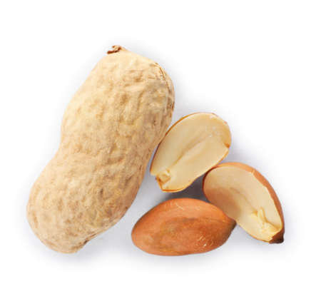 Raw peanuts on white background, top view. Healthy snack
