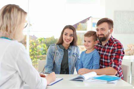 Little boy with parents visiting children's doctor in hospital Reklamní fotografie