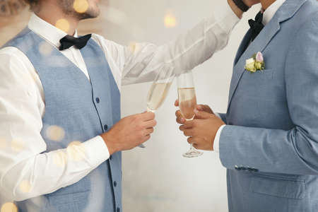 Newlywed gay couple with glasses of champagne at home, closeup Фото со стока