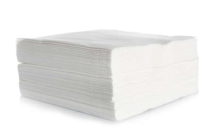 Stack of clean paper napkins on white background Stock Photo - 112643377